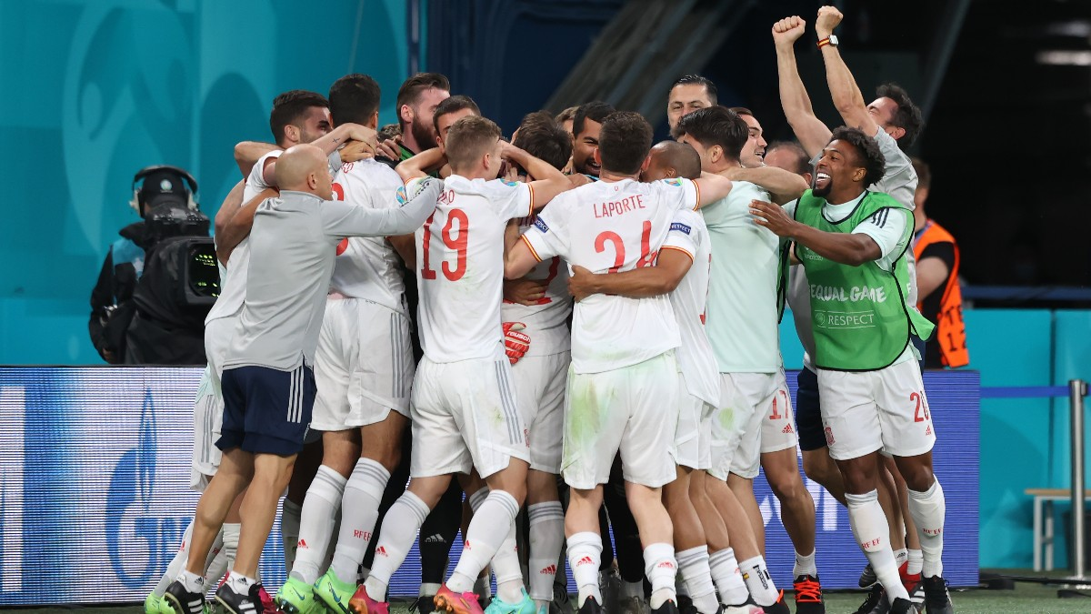 La celebración de los jugadores de España.