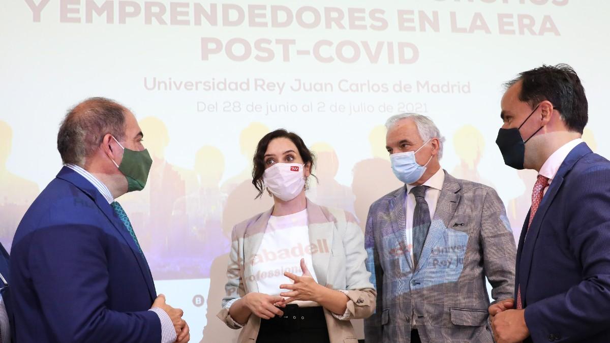 Isabel Díaz Ayuso en el acto organizado por la Federación Nacional de Asociaciones de Trabajadores Autónomos. (Foto: Europa Press)