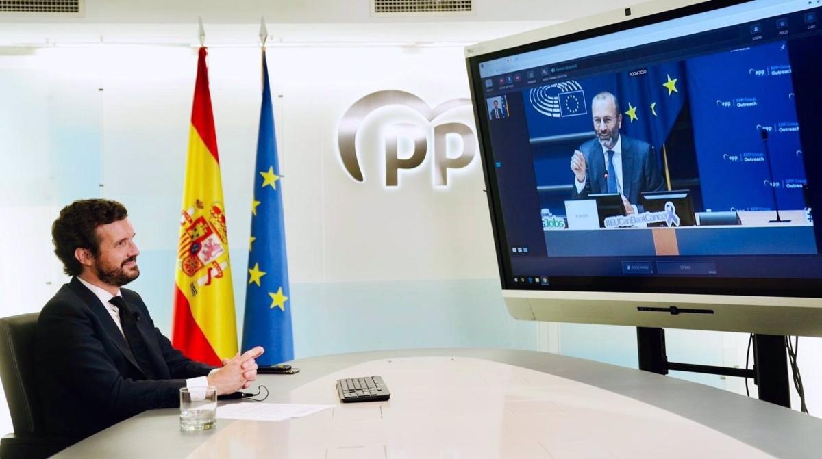Pablo Casado participando vía telemática en unas jornadas del PPE.