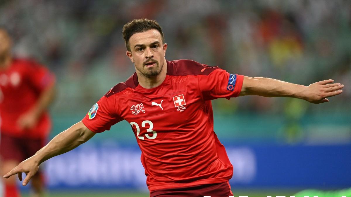Shaqiri celebra un gol con Suiza en la Eurocopa 2020. (AFP)