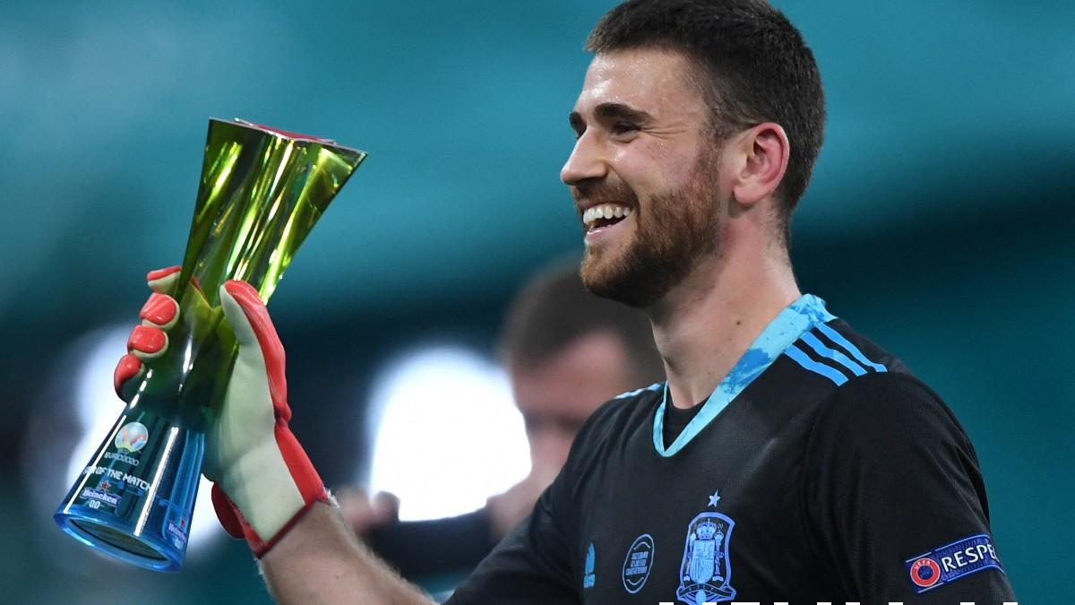 Unai Simón fue el MVP del España-Suiza de la Eurocopa. (AFP)