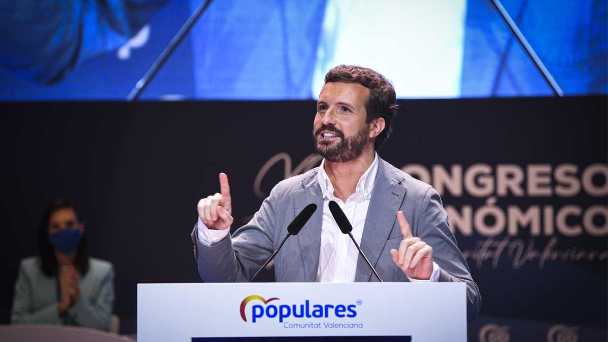 Pablo Casado en el Congreso del PP valenciano. Foto: Europa Press.