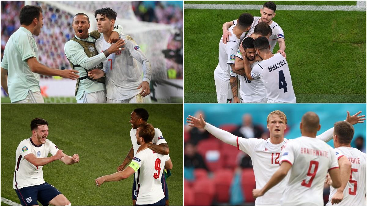 Los futbolistas de las selecciones que llegaron a semifinales de la Eurocopa celebran goles.