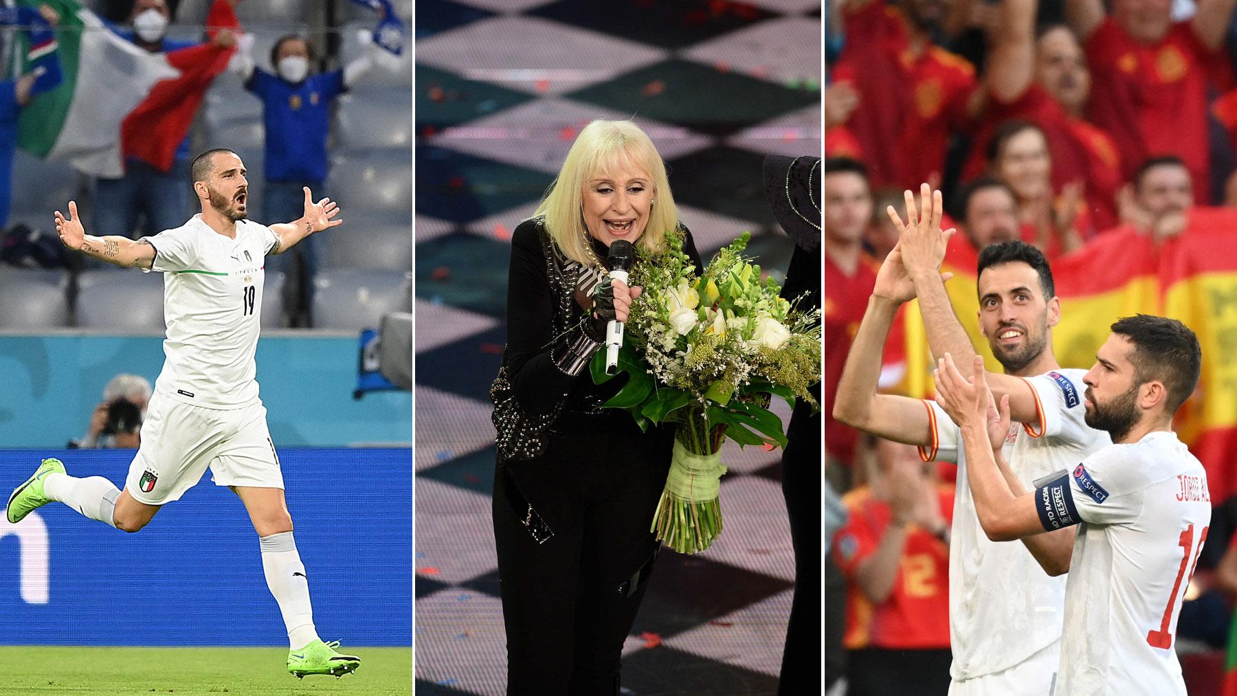 A la izquierda Chiellini; en el centro Raffaella Carrá; a la derecha Busquets y Alba aplauden a la afición durante un partido de la Eurocopa 2020 (Getty y AFP)