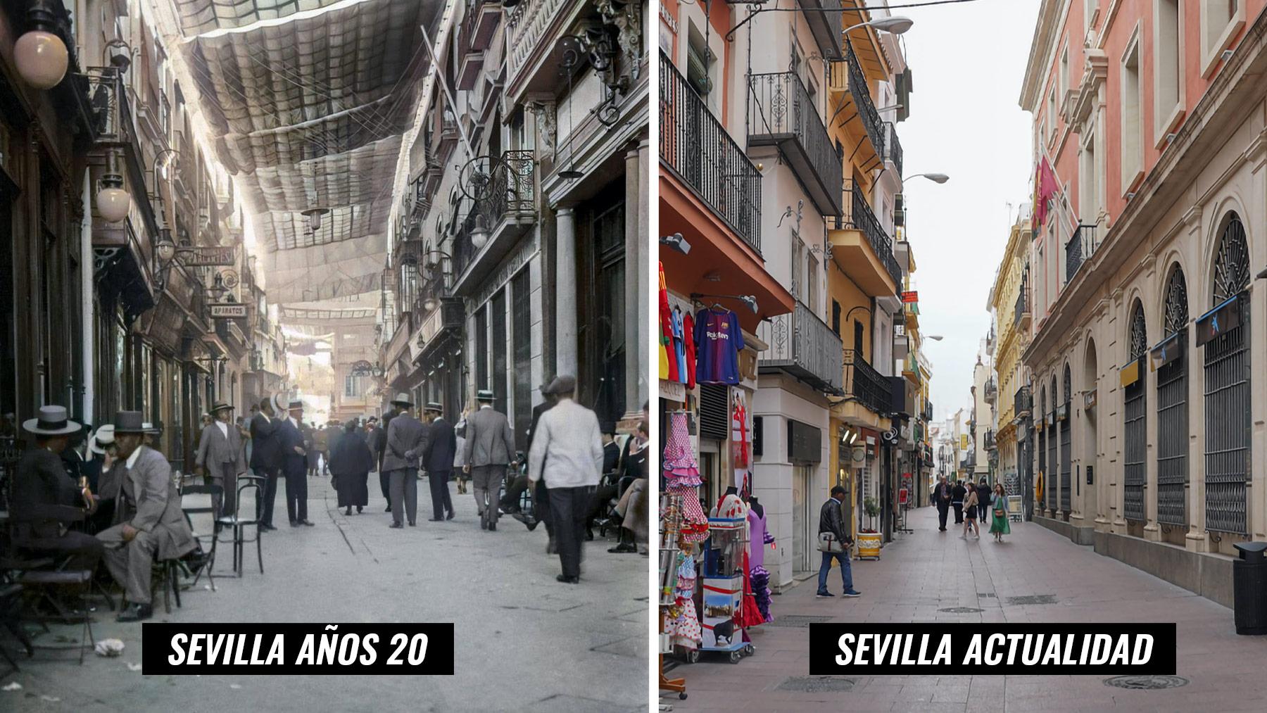Toldos en la calle Sierpes de Sevilla en los años 20 y la misma calle a día de hoy.