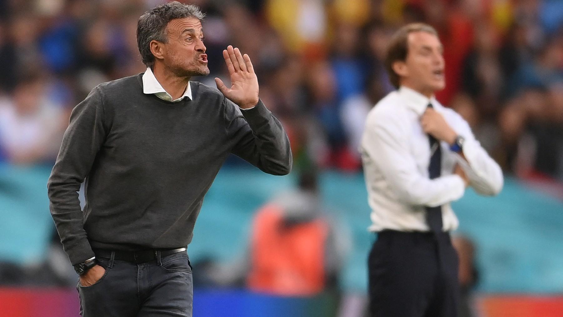 Luis Enrique, en el partido contra Italia. (AFP)