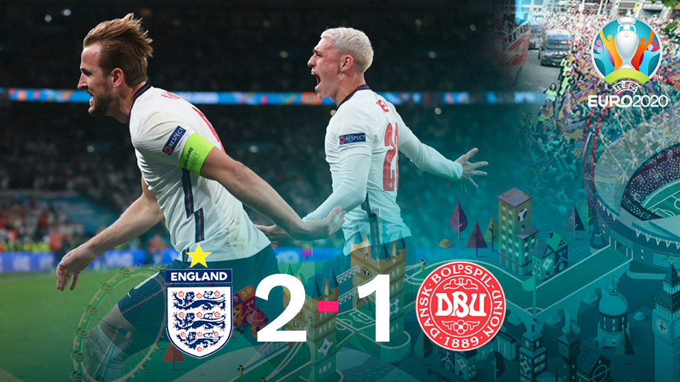 Inglaterra venció a Dinamarca por 2-1 en las semifinales de la Eurocopa 2020.