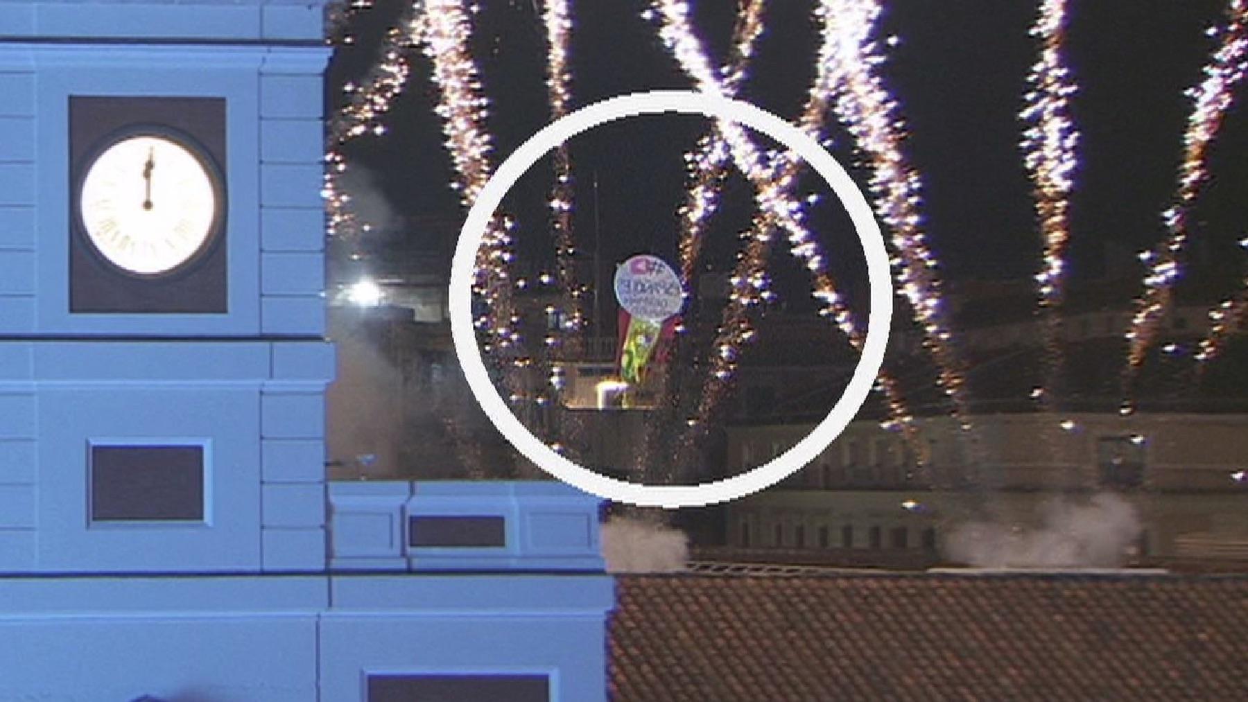 El dron durante las Campanadas 2021 de Fin de Año en la Puerta del Sol.