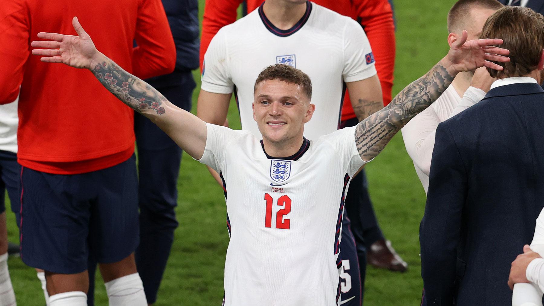 Trippier celebra el pase de Inglaterra a la final de la Eurocopa 2020 (Getty)