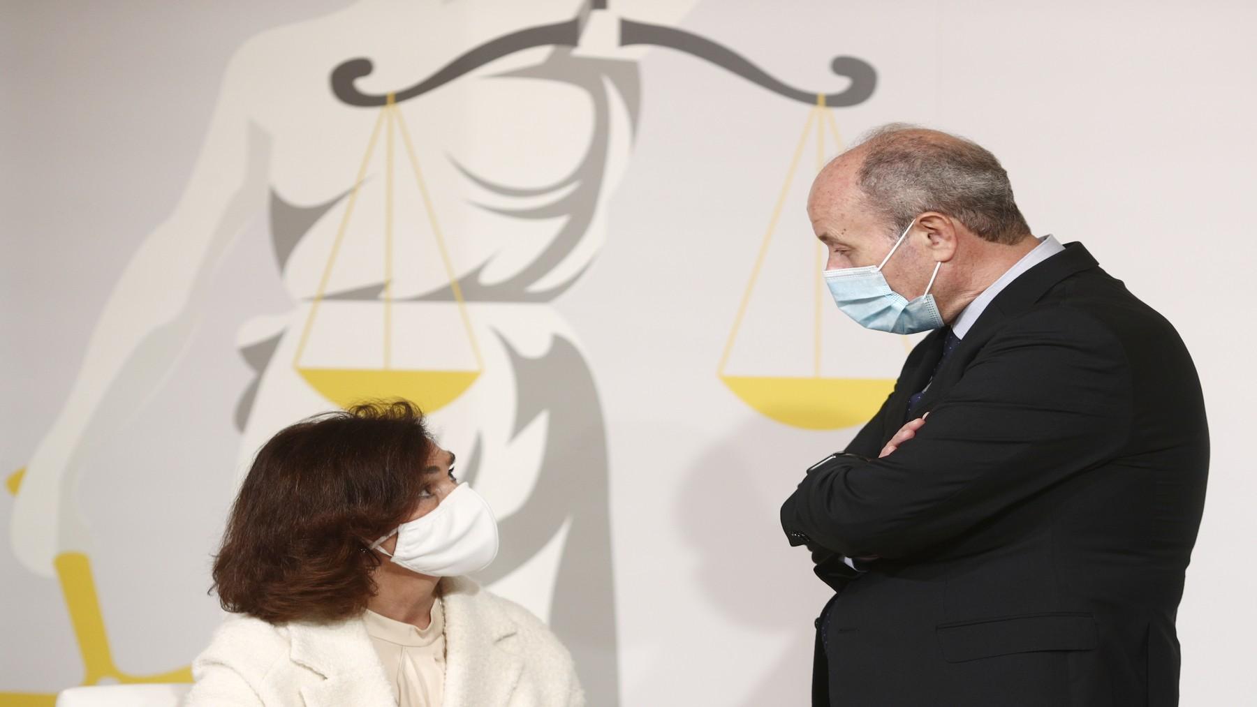 La exvicepresidenta primera, Carmen Calvo, y el exministro de Justicia, Juan Carlos Campo (EUROPA PRESS).