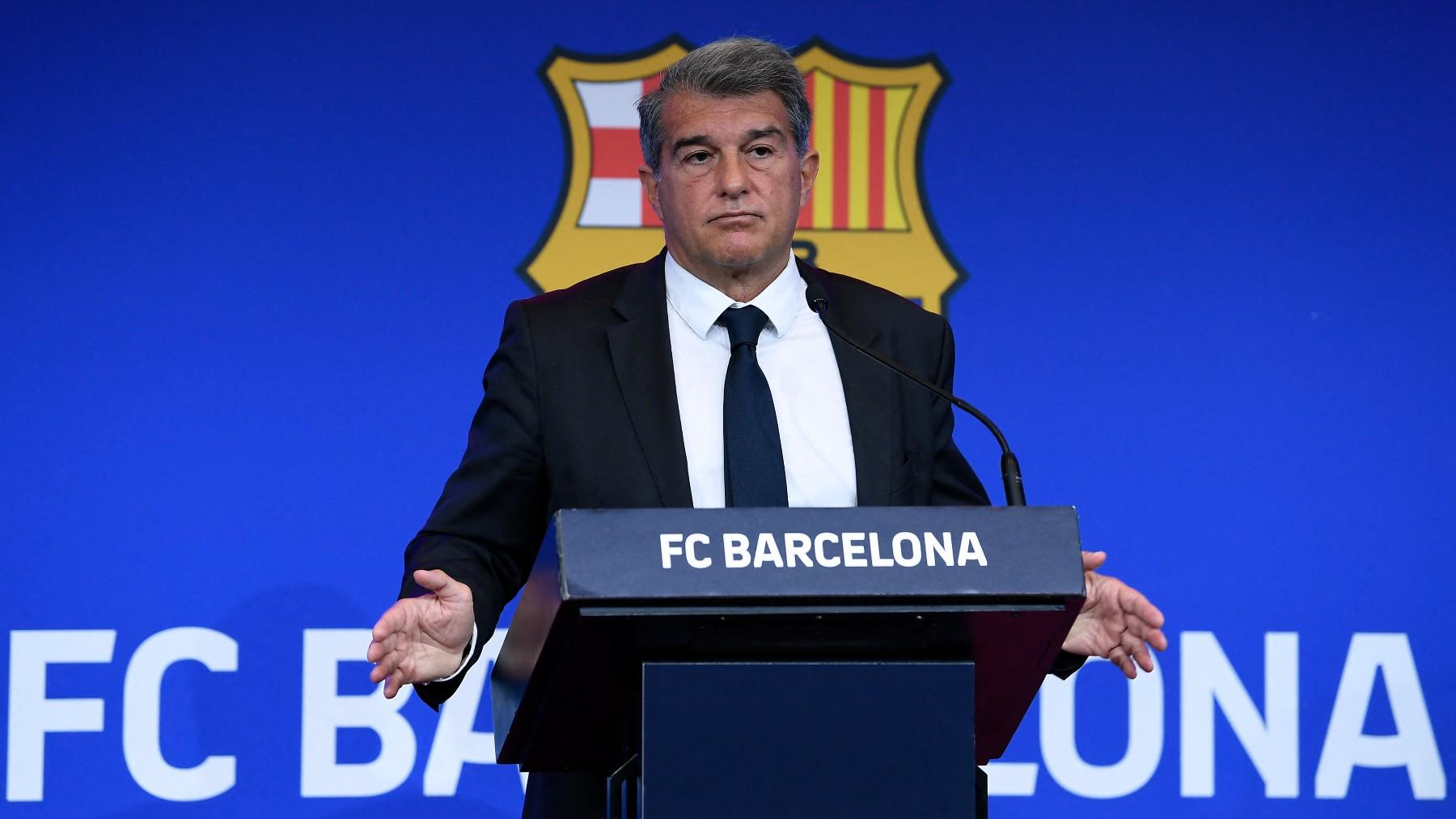 Laporta, en un acto del Barcelona. (AFP)