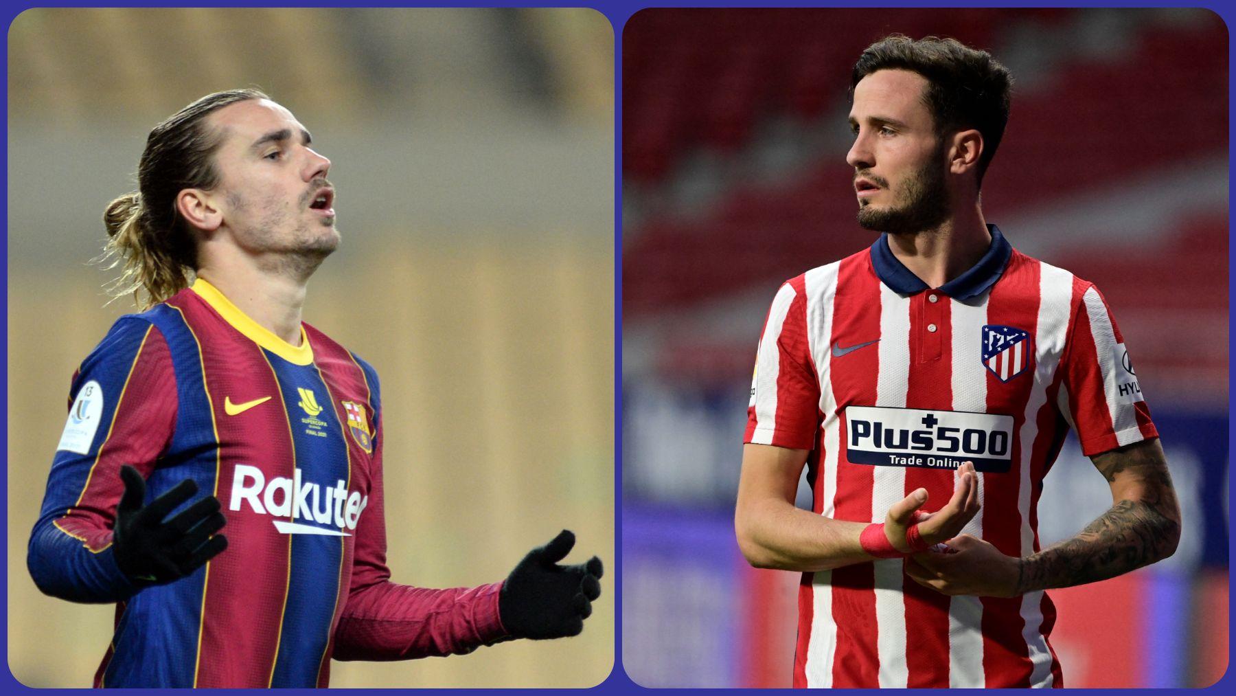 Griezmann, jugador del Barcelona, y Saúl, del Atlético. (AFP)