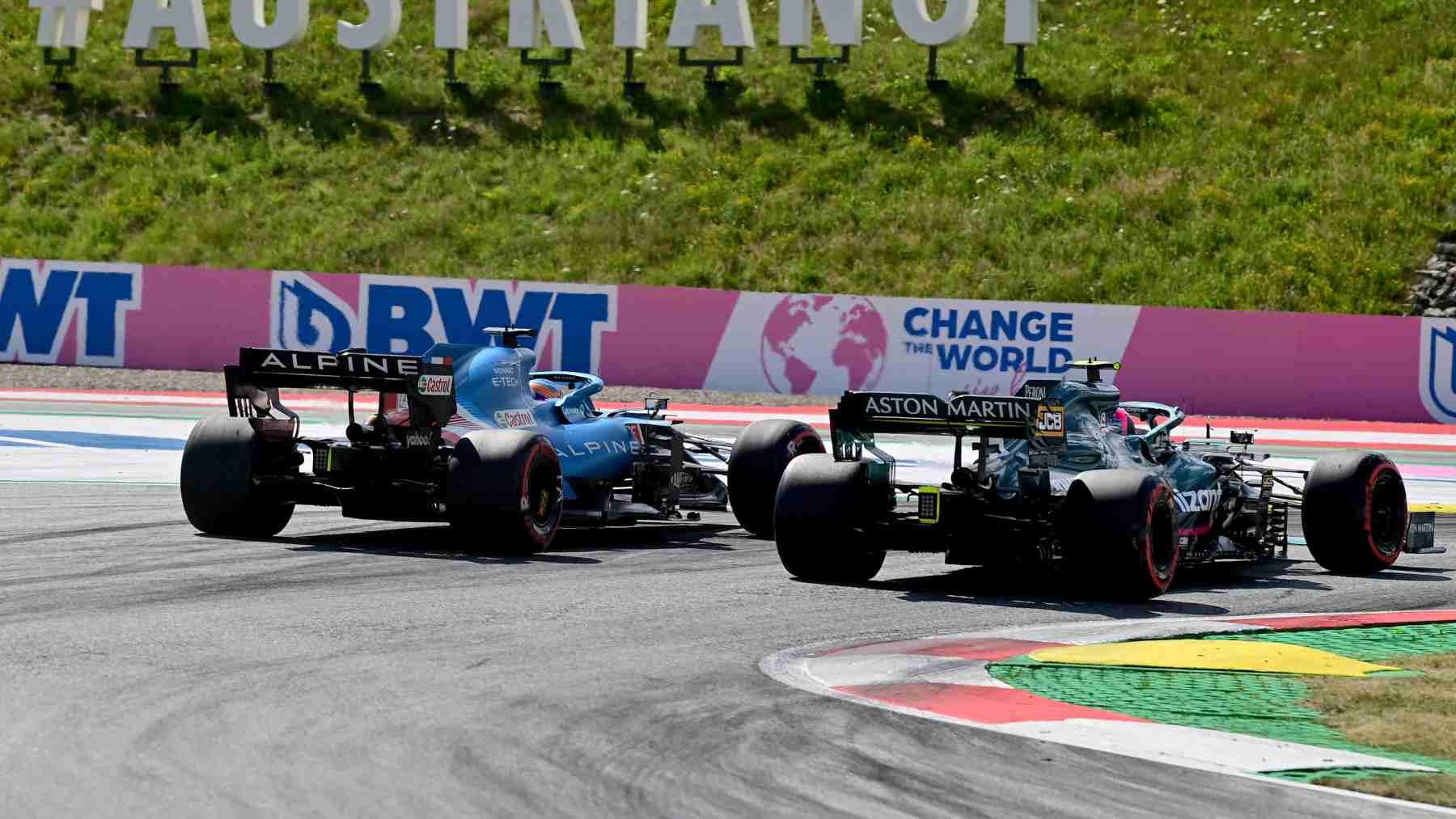 El incidente entre Fernando Alonso y Sebastian Vettel durante la sesión de clasificación del Gran Premio de Austria. (AFP)
