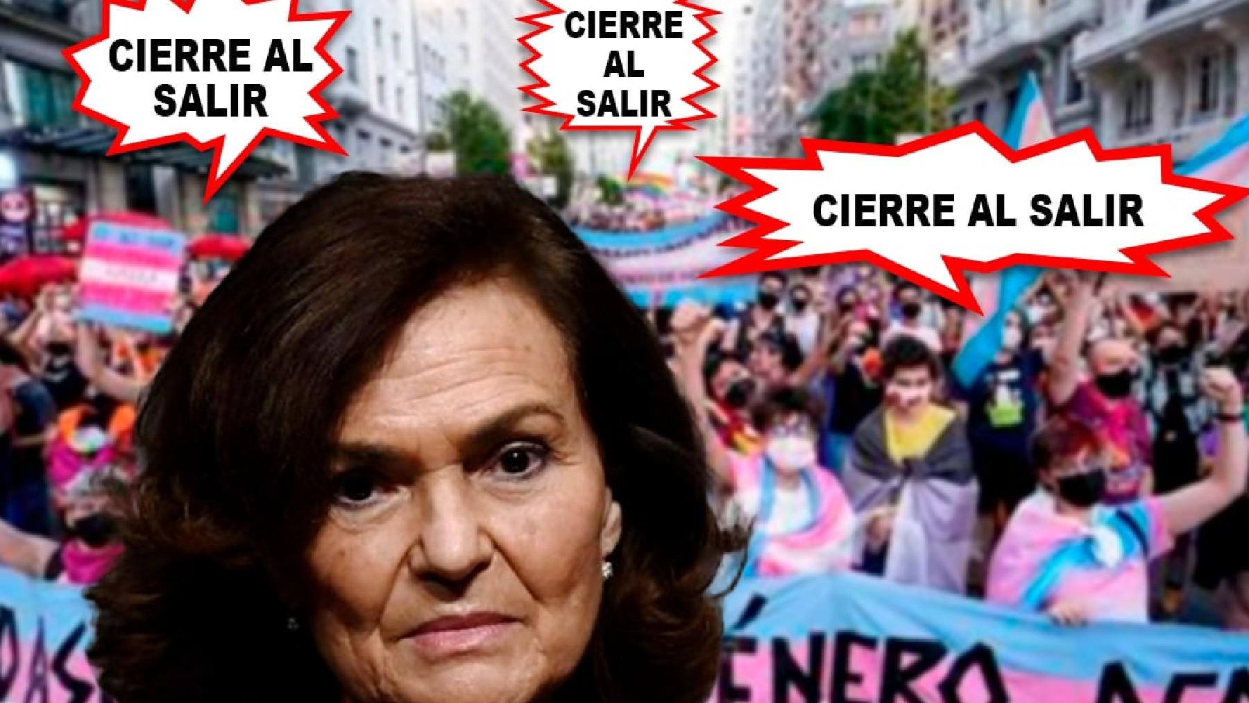Cartela de la guerrilla de Podemos contra Carmen Calvo.