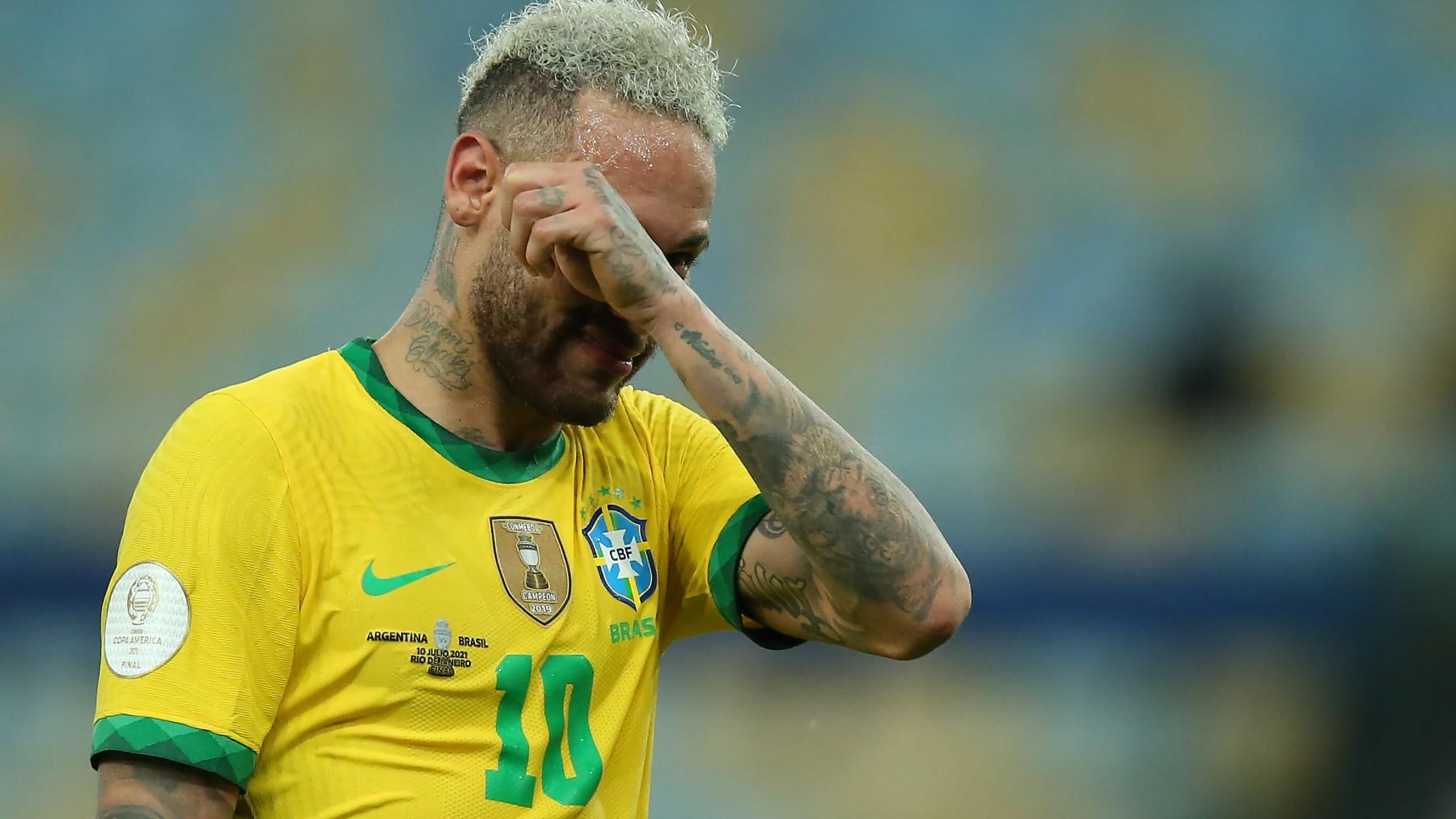 Neymar, llorando tras perder la final de la Copa América. (Getty)