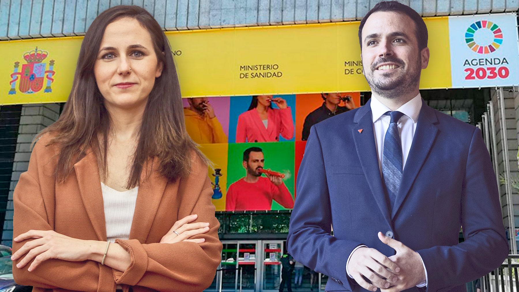Ione Belarra y Alberto Garzón con el edificio de sus ministerios, de fondo.