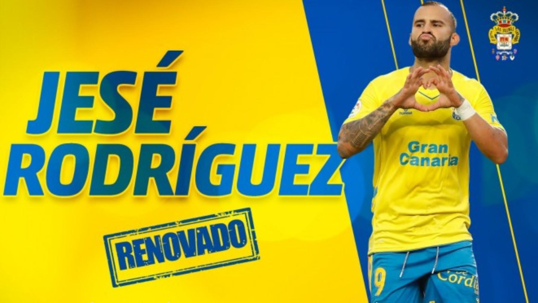 La UD Las Palmas anuncia la renovación de Jesé Rodríguez por un año más. (udlaspalmas.es)