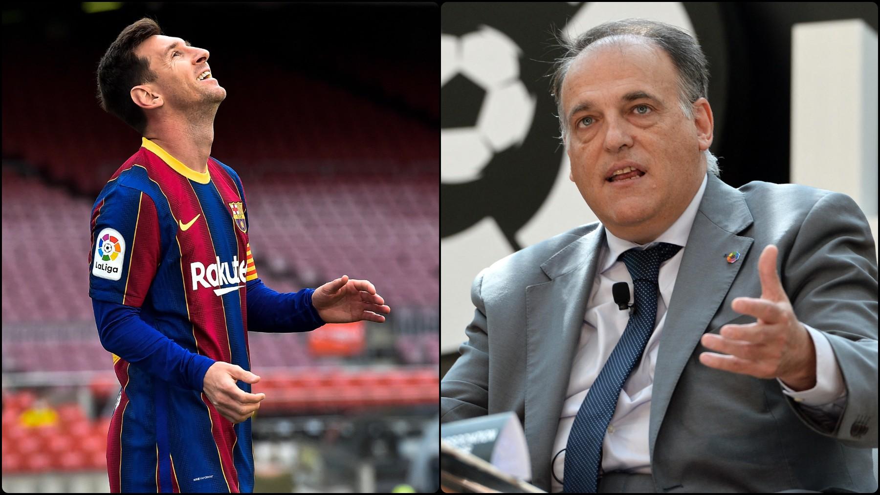 Leo Messi y Javier Tebas.