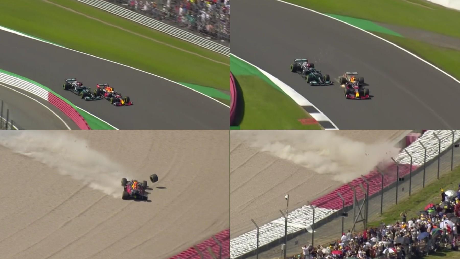 Así fue el accidente entre Lewis Hamilton y Max Verstappen.