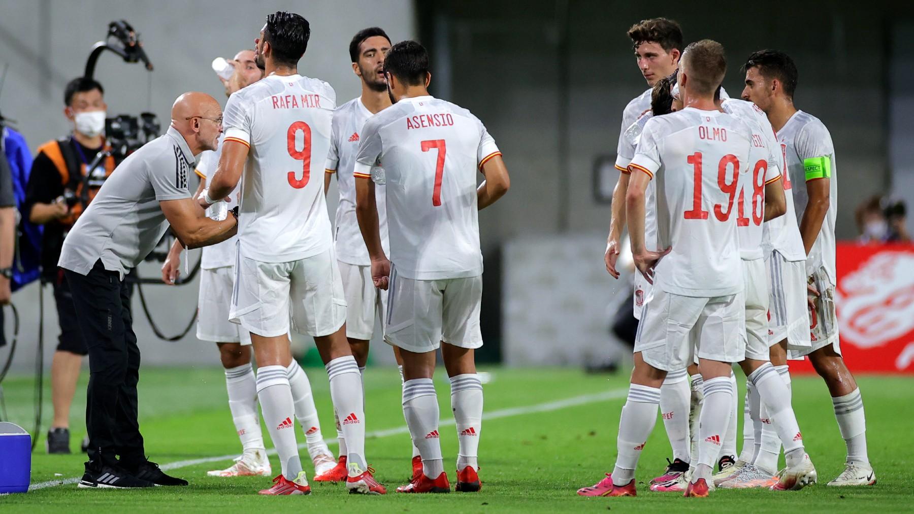 La selección olímpica de España, durante el amistoso ante Japón (Getty).
