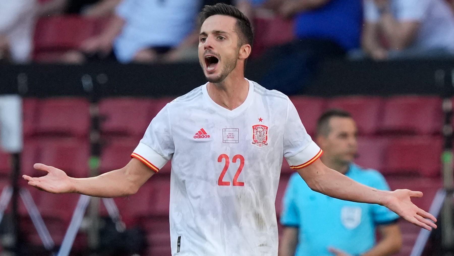 Pablo Sarabia, durante un partido con la selección española en la Eurocopa. (AFP)