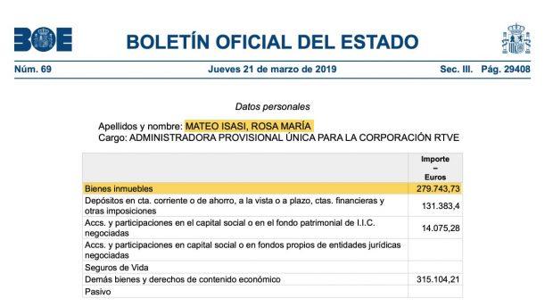 Declaración de bienes de Rosa María Mateo.