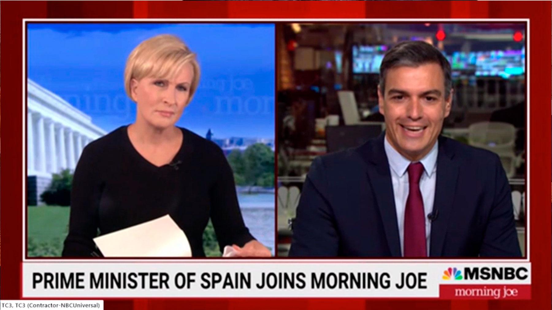 Pedro Sánchez durante la entrevista en la MSNBC