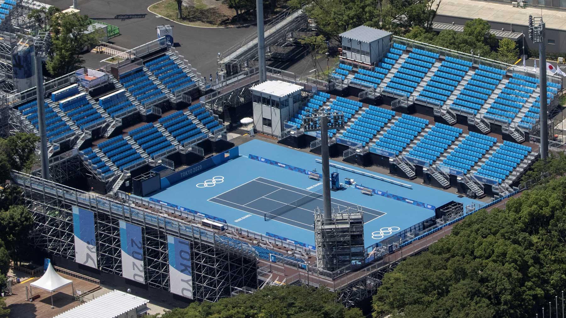 Vistas del Ariake Tennis Park donde se disputarán los partidos de tenis en Tokio 2020 (AFP)