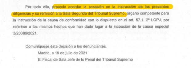 Resolución del escrito de Fiscalía