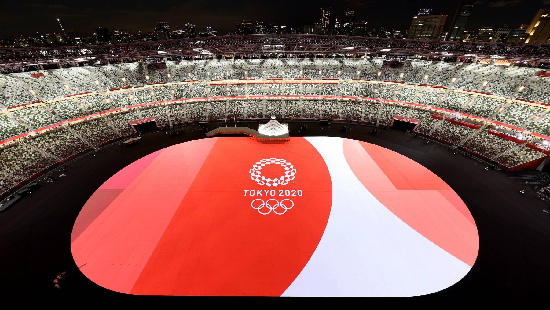 El estadio olímpico de Tokio, antes de la ceremonia de apertura. (Getty)