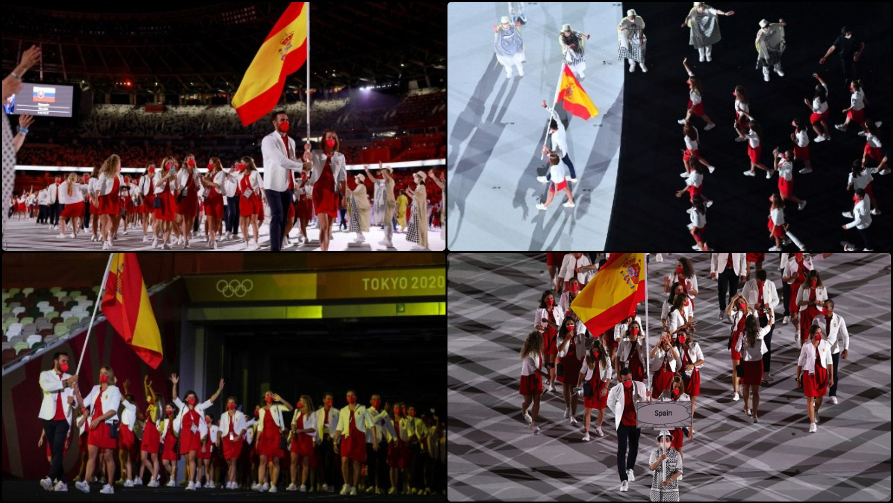 La delegación española durante la ceremonia de apertura de los Juegos de Tokio 2020.