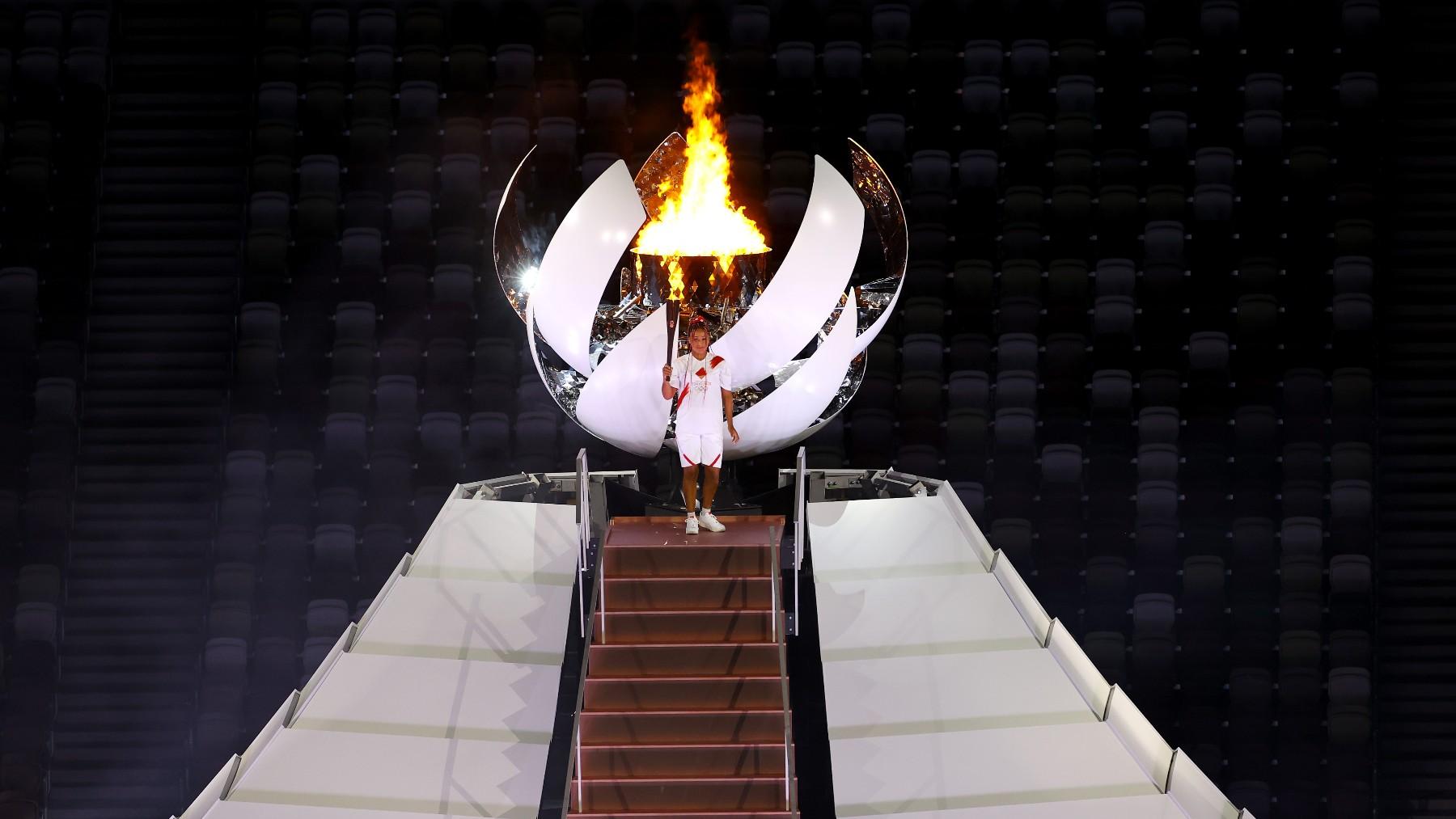 Naomi Osaka encendió el pebetero. (Getty)