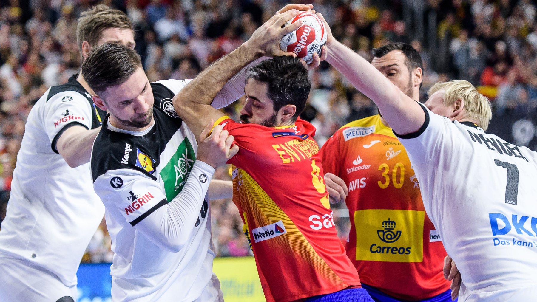 La selección de España de balonmano, en un partido contra Alemania. (Getty)