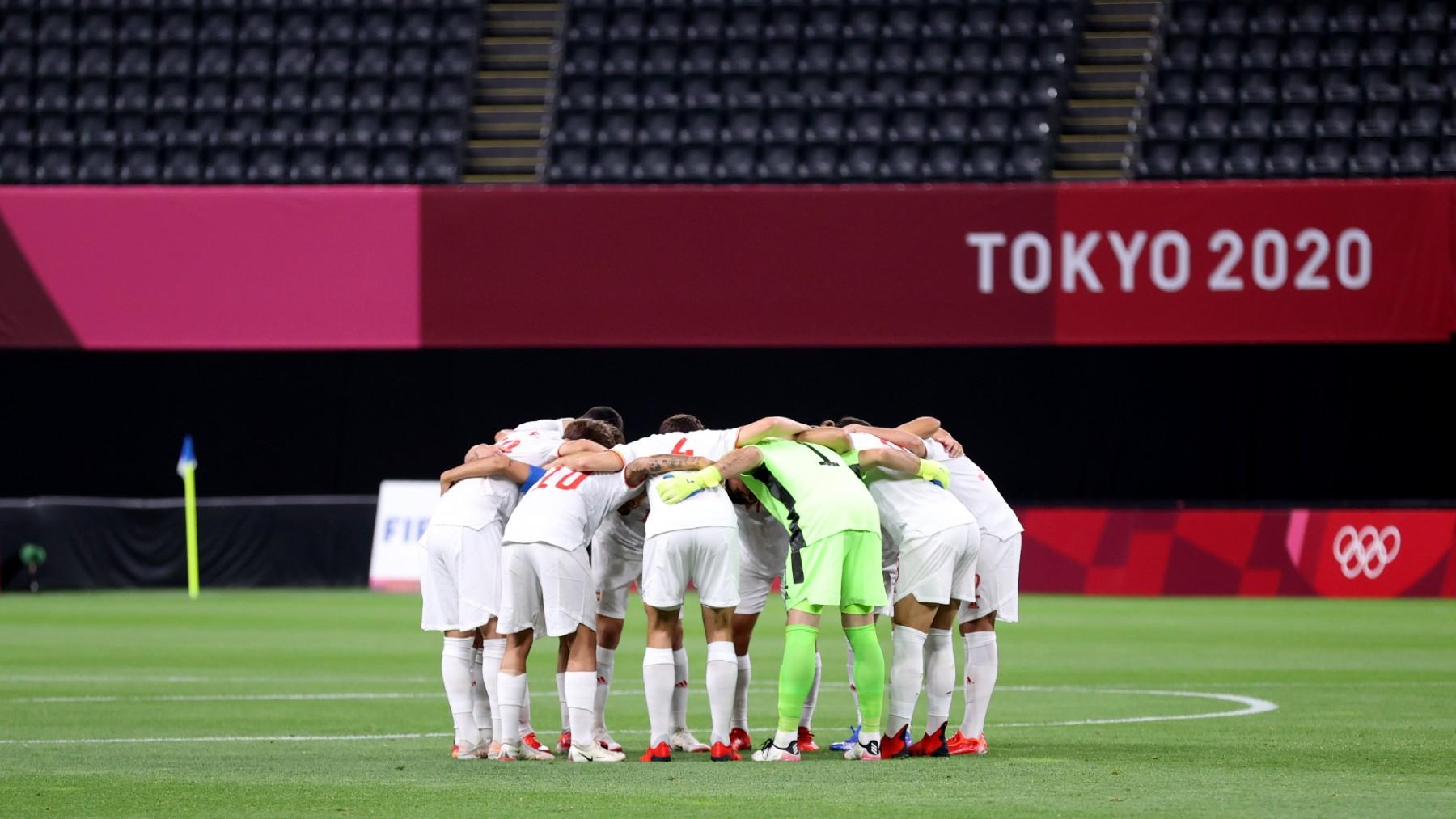 La selección española, antes del debut en los Juegos ante Egipto. (Getty)