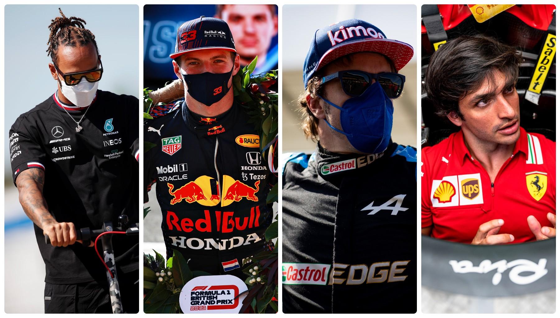 Lewis Hamilton, Max Verstappen, Fernando Alonso y Carlos Sainz.