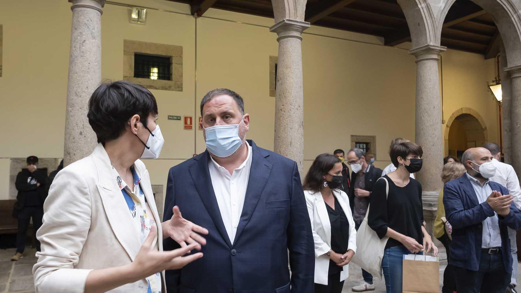 Oriol junqueras y la portavoz del BNG, Ana Pontón. Foto: Europa Press.