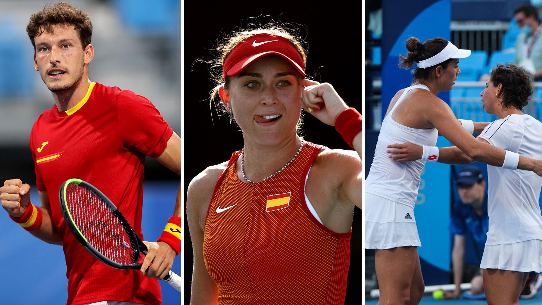 Pablo Carreño, Paula Badosa y Garbiñe junto a Carla, en su debut en los Juegos Olímpicos de Tokio (Getty)