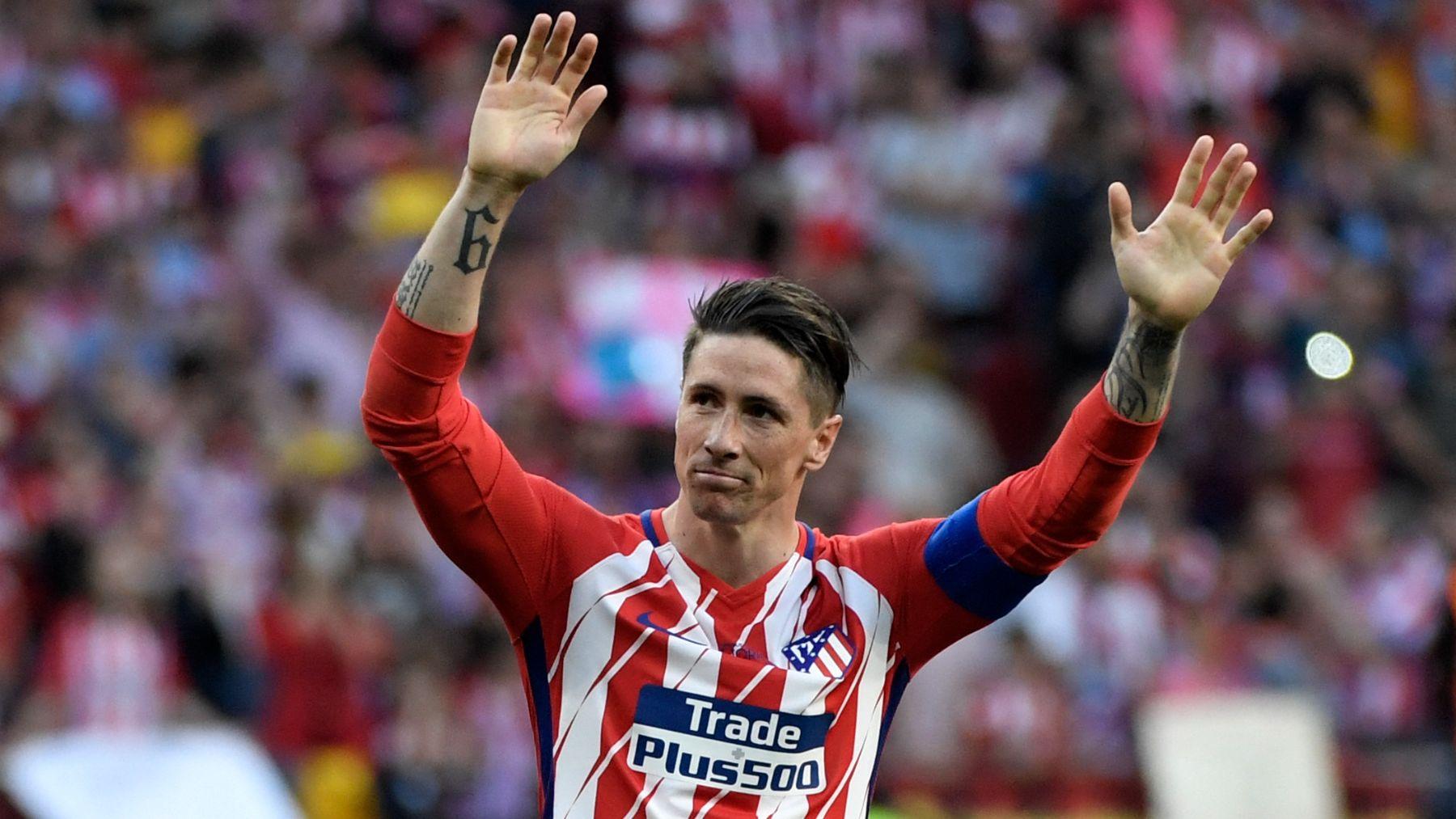Fernando Torres, durante su despedida del Atlético. (AFP)