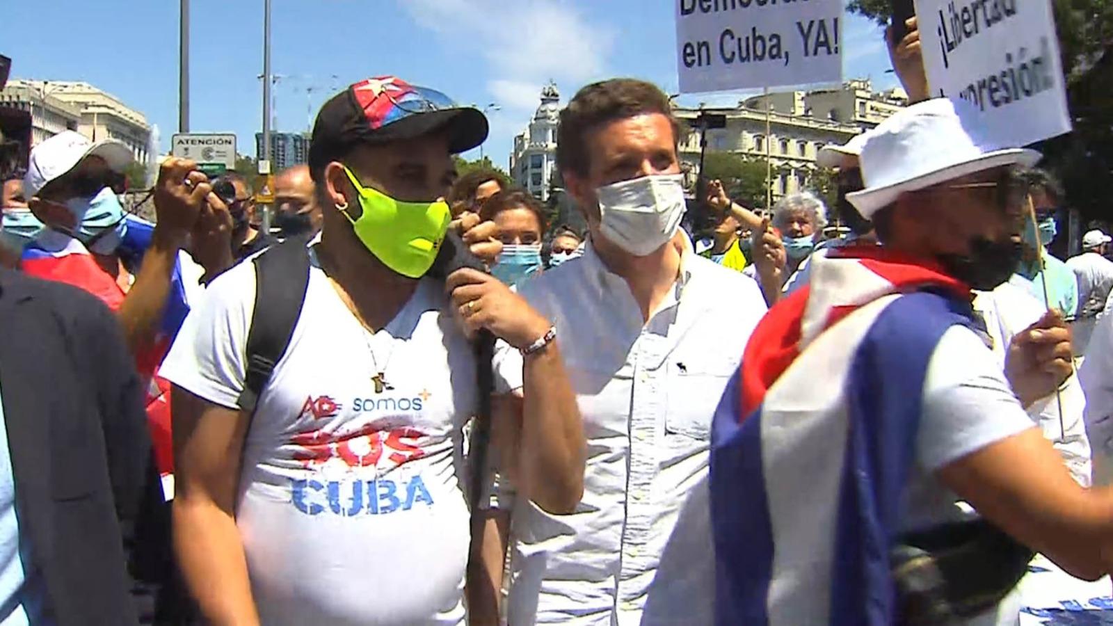 Pablo Casado, en la manifestación en Madrid.