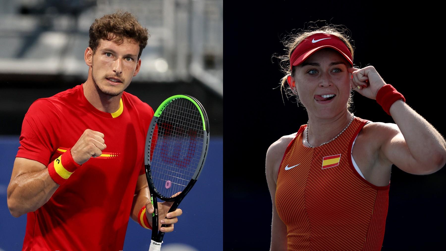 Pablo Carreño y Paula Badosa. (AFP)