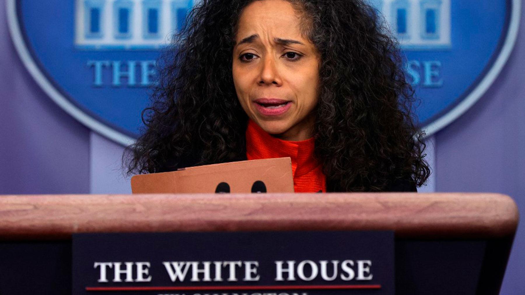 Julissa Reynoso en una rueda de prensa en La Casa Blanca. Foto: AFP