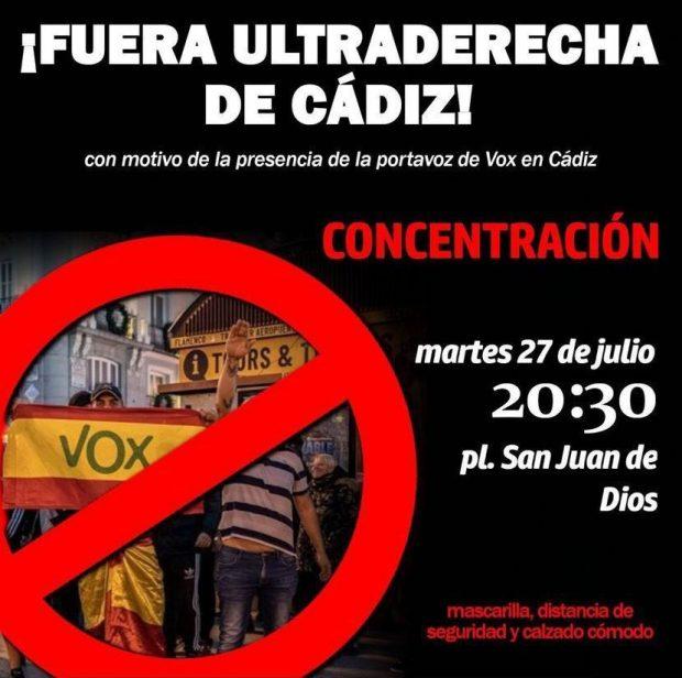 Cartel de la manifestación radical contra Vox en Cádiz.