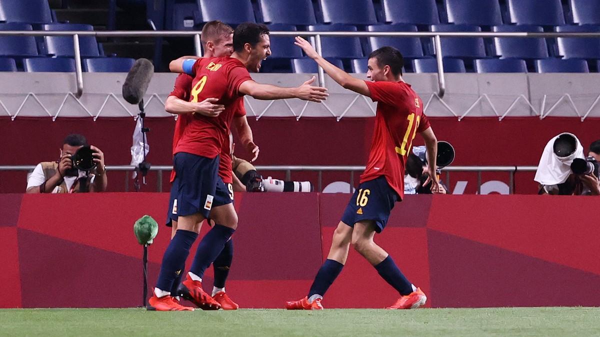 España celebra un gol en los Juegos Olímpicos. (AFP)