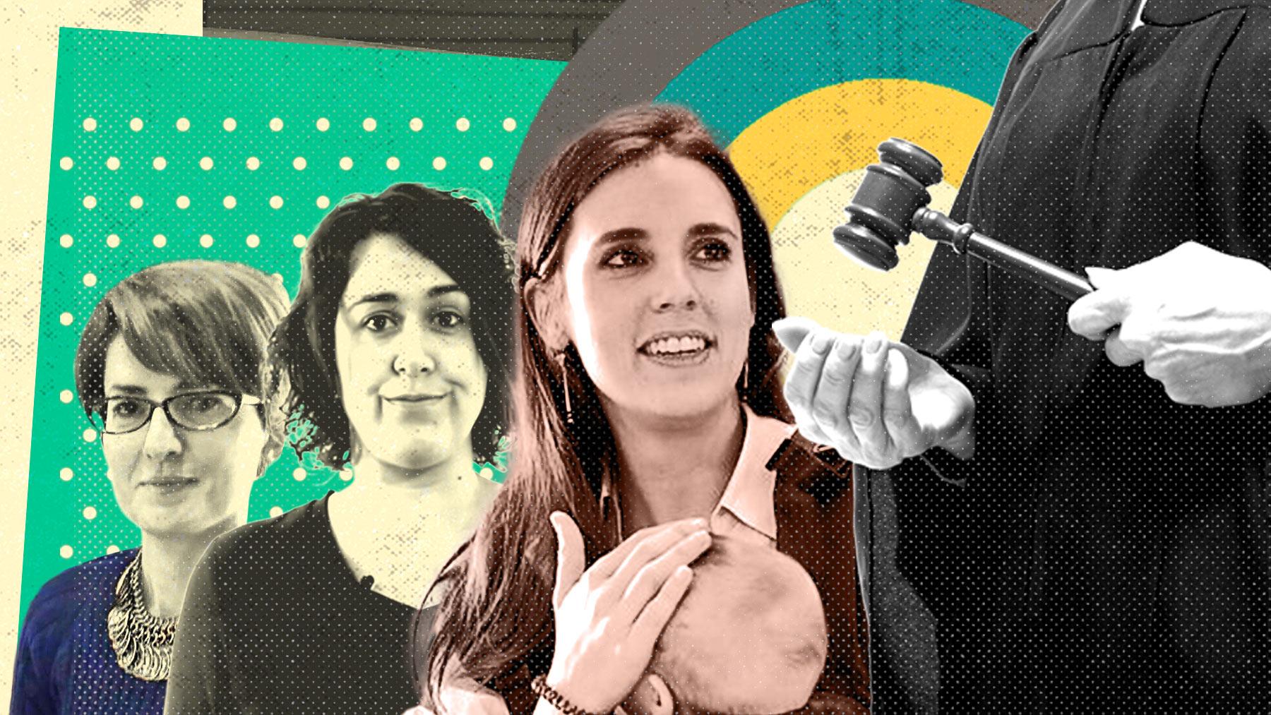 Mónica Carmona, Teresa Arévalo e Irene Montero.