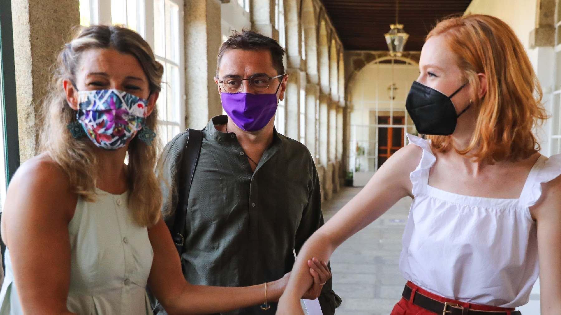 Yolanda Díaz, Juan Carlos Monedero y Lilith Verstrynge. (Foto: Marta Fernández – Europa Press)