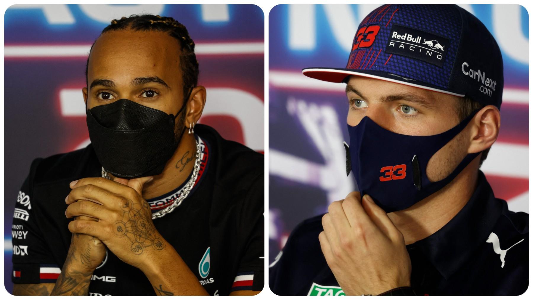 Lewis Hamilton y Max Verstappen en rueda de prensa. (AFP)