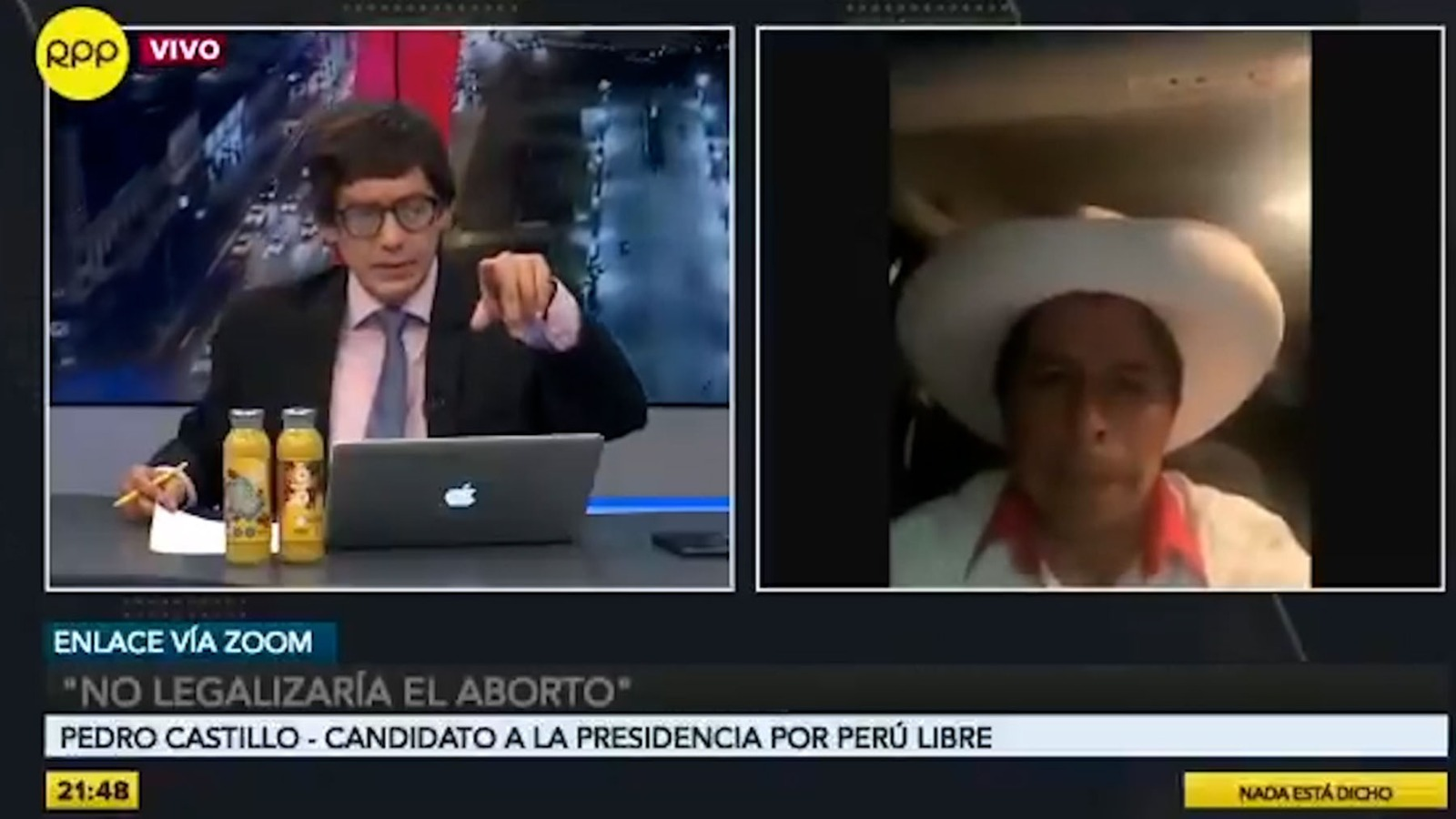 El recién nombrado presidente de Perú, Pedro Castillo, en una entrevista en televisión.