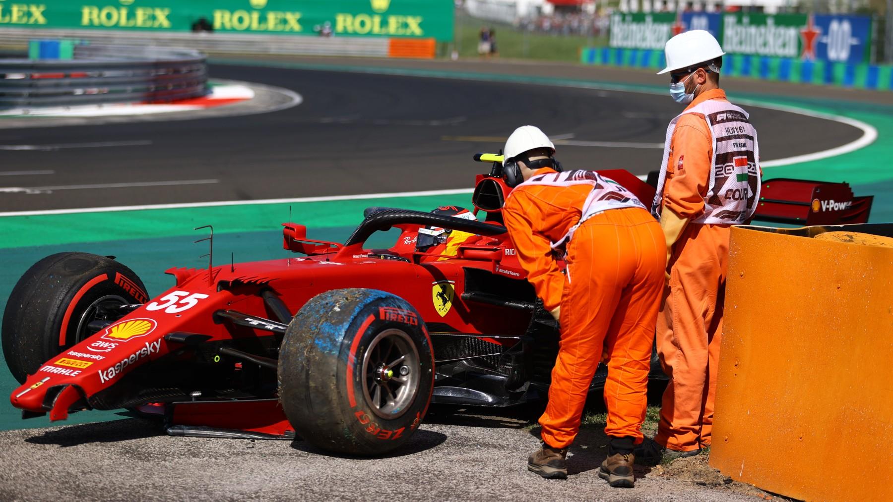 Carlos Sainz, tras el accidente. (Getty)