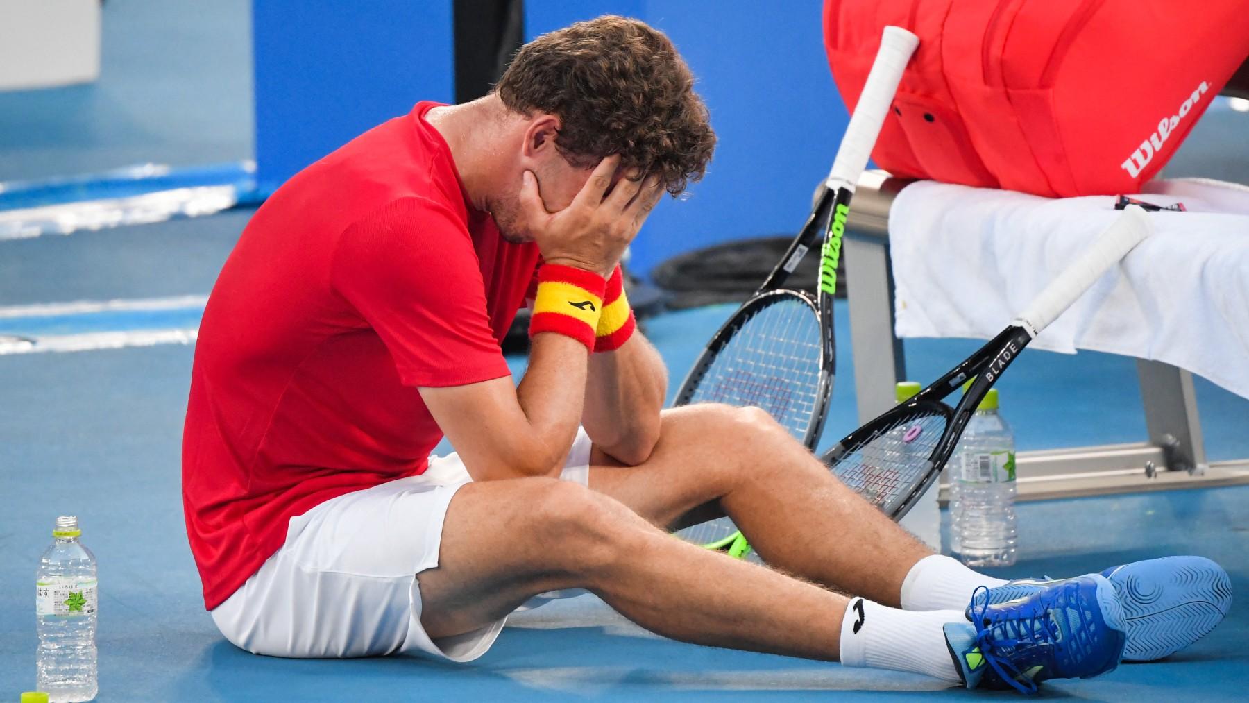 Carreño llora tras el partido. (AFP)