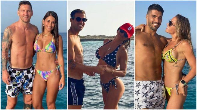 Messi, Antonela, Cesc, Daniella, Suárez y Sofi.